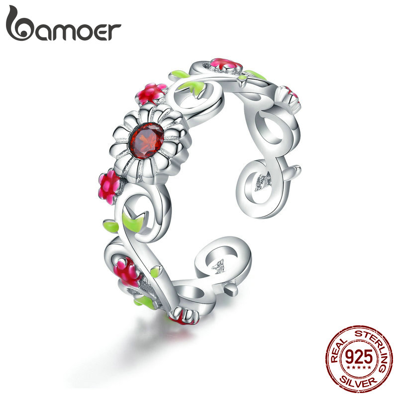 BAMOER Vintage 925 Sterling Silver Blooming Branch Flower Leaves Adjustable Finger Rings Women Sterling Silver Jewelry BSR023