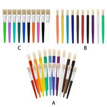10/20 pces pincel de pintura para crianças pintura a óleo aquarela doces cor punho plástico cerdas escovas gouache desenho arte fornecimento