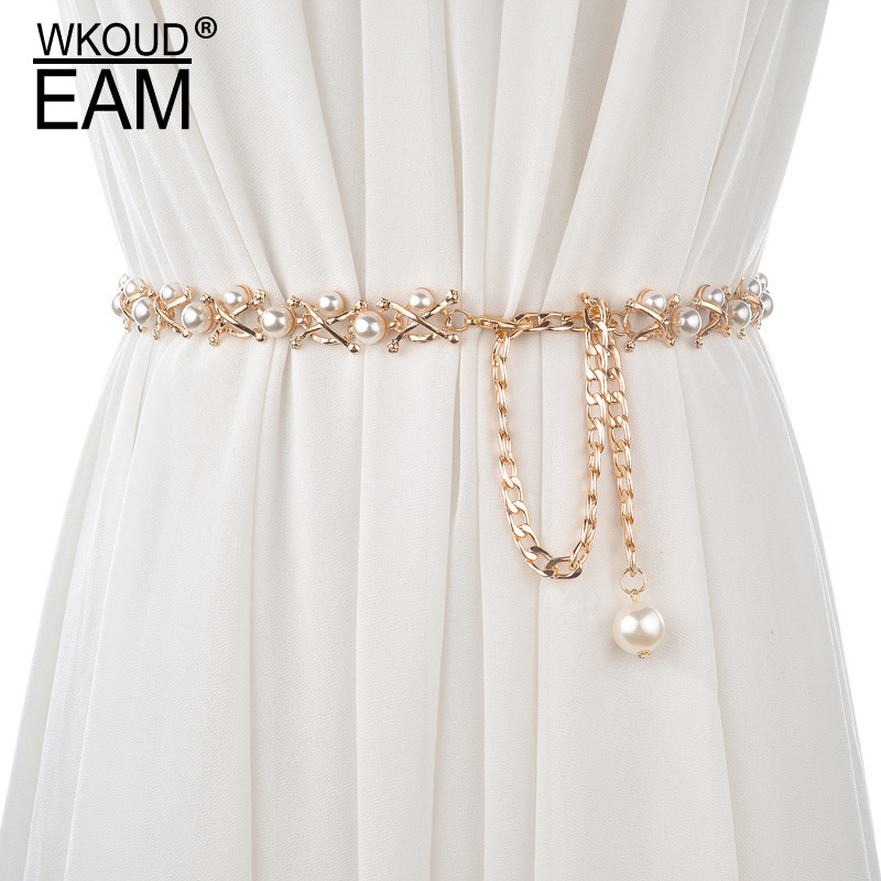 WKOUD EAM 2020 New Pearl Lady Metal  Fine Waist Chain Wild Personality Boho Elegant Casual Wedding Dress Waistband Tide PE082