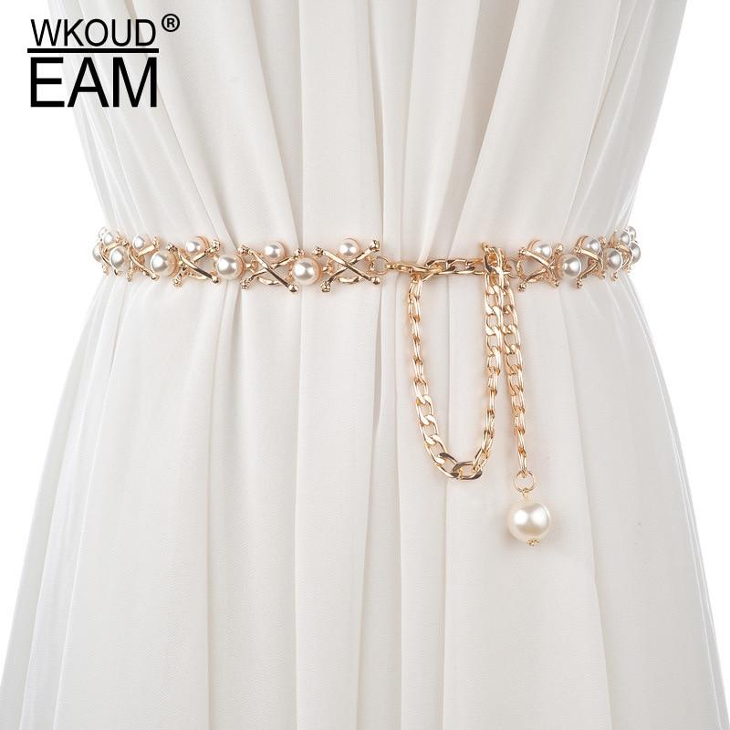 WKOUD EAM 2020 New Pearl Lady Metal  Fine Waist Chain Wild Personality Boho Elegant Casual Wedding Dress Waistband Tide PE082