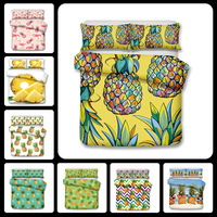 3D Bedclothes Bed Set Watercolor Pineapple Flamingo Textile Summer Watercolor Reactive Printed 3pcs Bedding Sets Duvet Cover