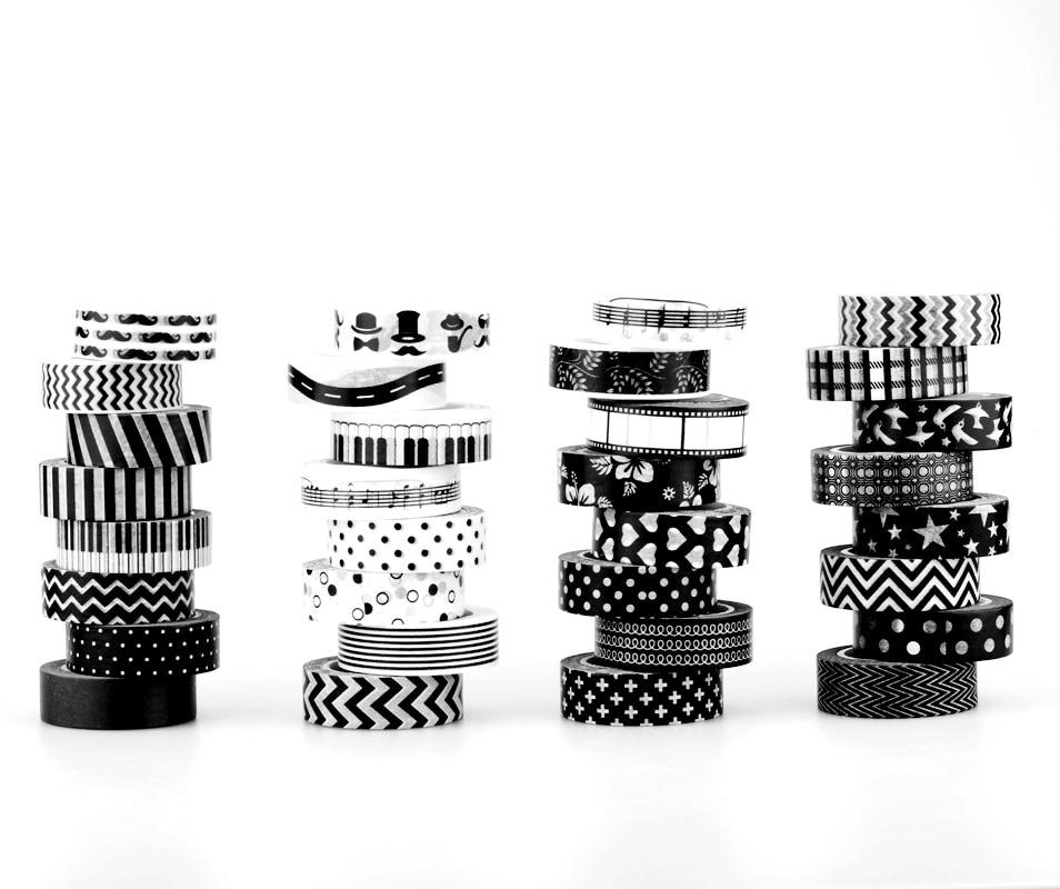15mm * 10M Decorative Black And White Japanese Washi Tape Set Adhesive Tape DIY Scrapbooking Paper Photo Album Masking Tape