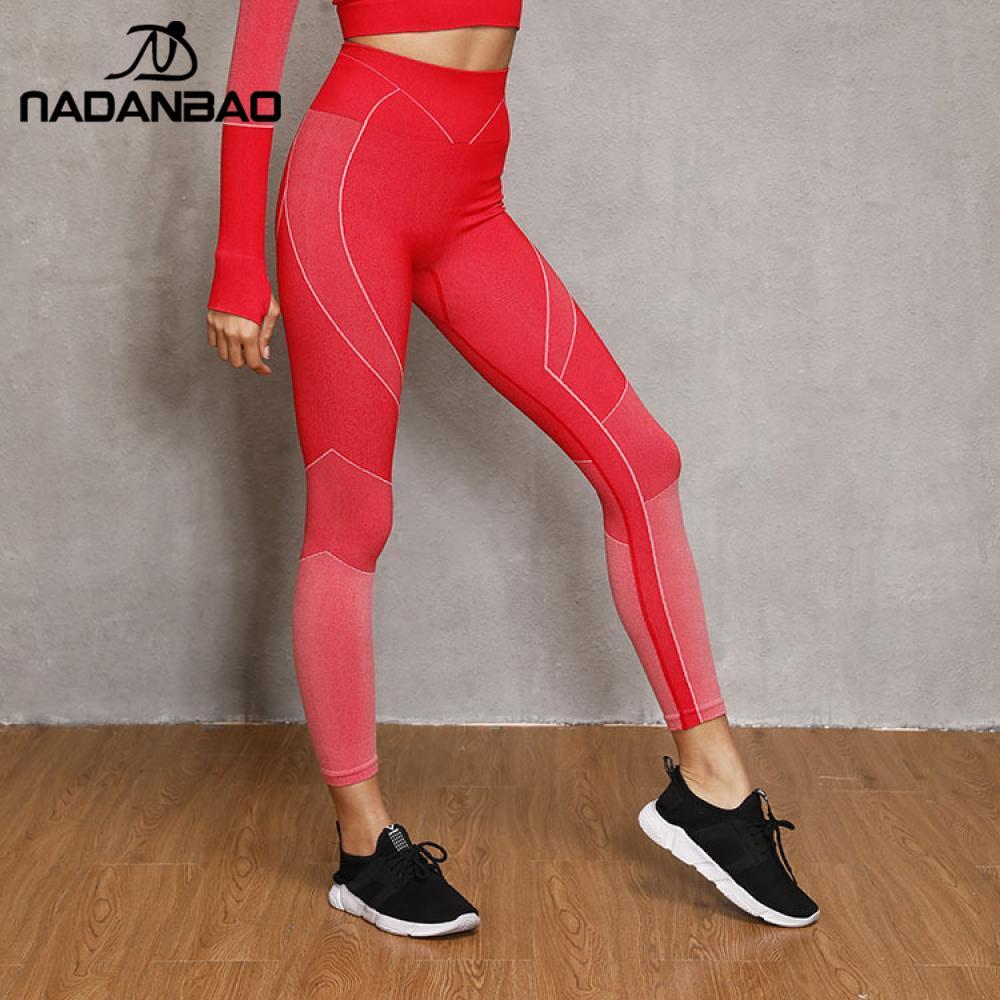 NADANBAO Fashion GYM Leggings Women Seamless Pants For Fitness Running Sportpants Slim PUSH UP Workout Leggins High Waist Legins