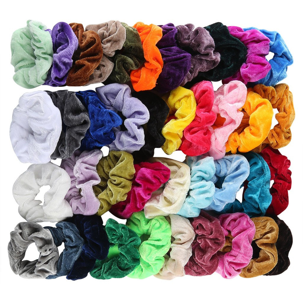 40 Pcs Various Colors Velvet Elastic Hair Bands Scrunchy For Women Or Girls Hair Accessories