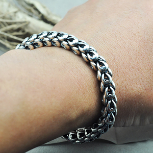 Image 5 - Dragon Scale Bracelet Chain Real Pure 925 Sterling Silver Double Heads Vintage Punk Rock Retro Style Men Jewelry