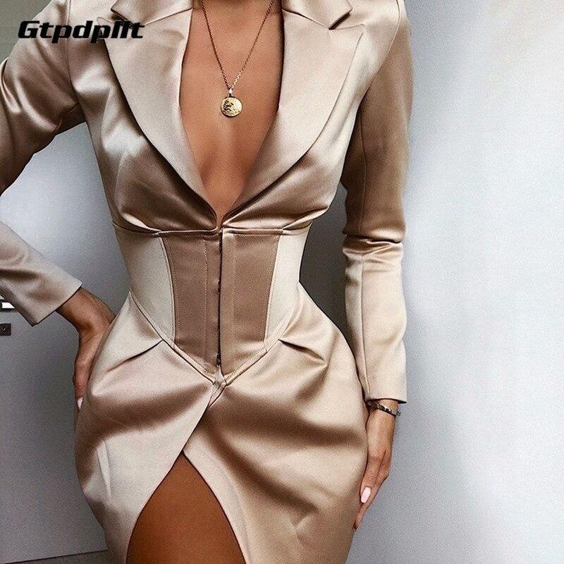 Gtpdpllt Fashion Satin V Neck Women Blazer Sexy Long Sleeve 2019 Autumn Long Jacket Office Lady Elegent Skinny Solid Blazers New