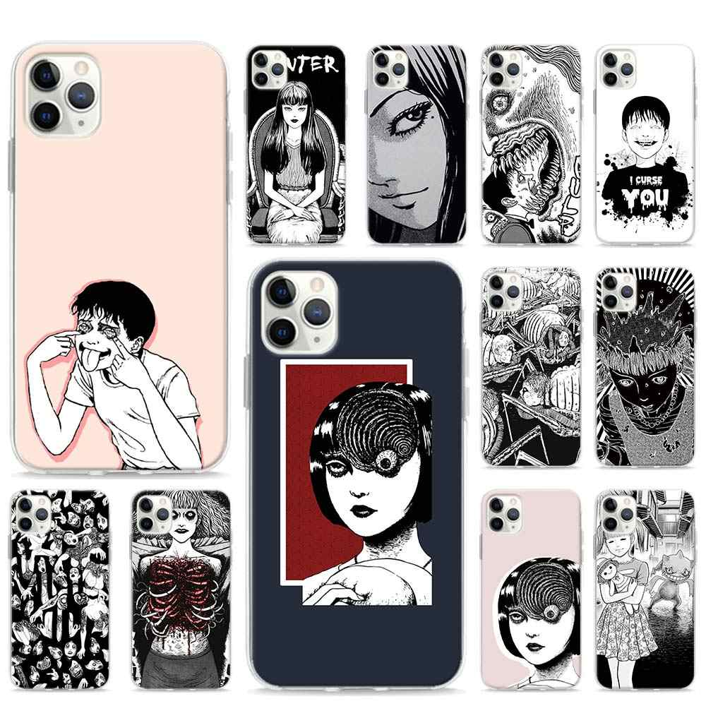 Junji Ito Tees Horror Soft Phone case for iPhone 11 Pro Max XR X XS MAX 6 7 8 Plus SE TPU Sillicone Cover Shell