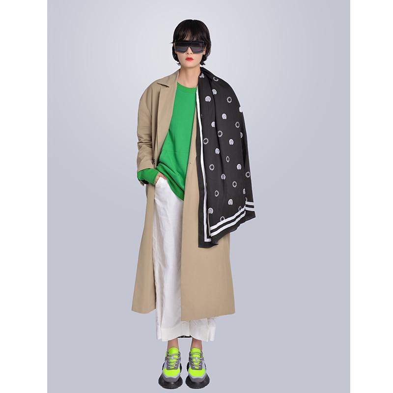 MISHOW Milan Fashion Week Spring/Summer 2020 Female Three-piece Set Green Sweatshirt Turn Down Collar Coat And White Pant Look-1