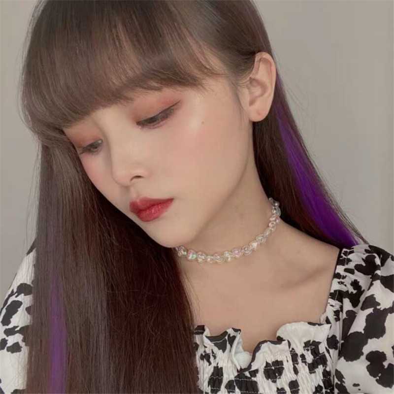 2020 Kpop Personality Goth Sweet Acrylic Heart Chokers Short Chain Necklace For Women Girl Egirl BFF Dating Aesthetic Jewelry