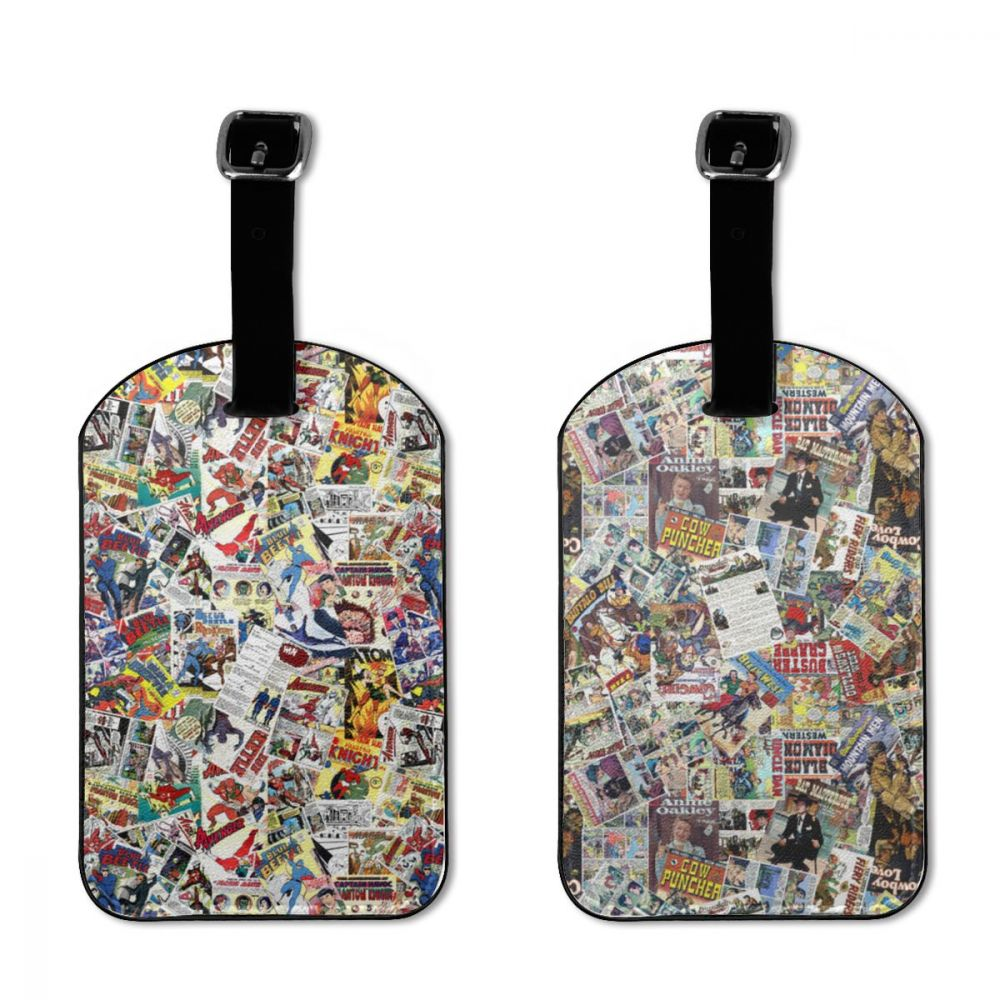NOISYDESIGNS Custom Comic Book Heroes Printing Luggage Tags Sets Luggage Checked Card Brand Airline Boarding Pass Printed LOGO