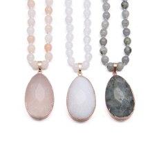 2019 New 3 Color Bohemian Tribal Jewelry Pendant Necklace Natural Semi Preciou Stones Drop Pendant Stone Long Necklace for Women