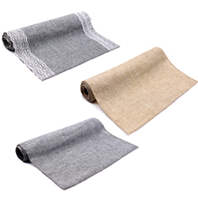Imitated Linen Table Runner Khaki/gray Lace Table Cover for Christmas Wedding Birthday Party Decorations 12×108/14x 48inch