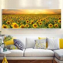 Подсолнечное поле, пейзаж, картина маслом на холсте, декор для спальни, современное настенное искусство, гостиная, без рамки, картина, украше...