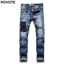 POVOTE jeans men's slim Straight Jeans zipper blue pants luxury punk style fashion design