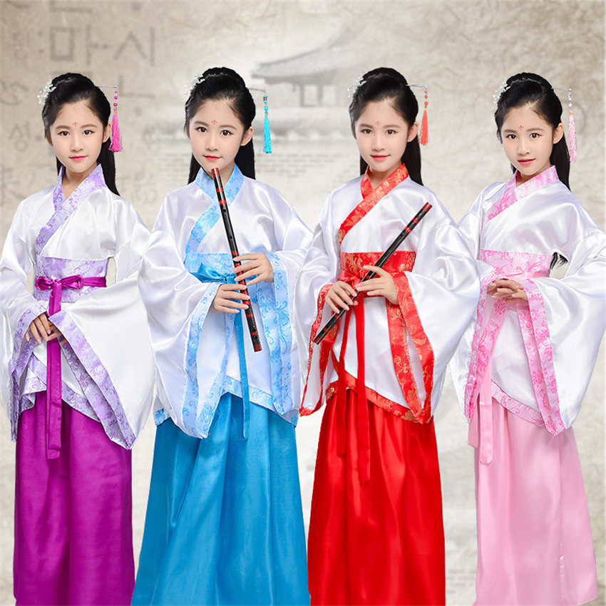 Oriental Dance Costumes For Kids Chinese Traditional Ancient Hanfu Girls Fairy New Year Festival Tang Suit Retro Princess Dress