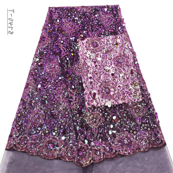 Latest embroidery beaded African french velvet sequins lace fabric 2020 high quality bridal Nigerian wedding tulle mesh lace