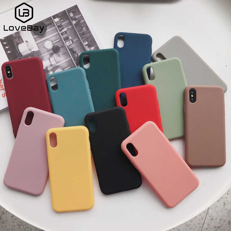 Lovebay caramelo teléfono carcasa para iPhone 6 6s 7 7 Plus X XR XS 11 Pro Max encantador Simple Color sólido de silicona suave para iPhone 11