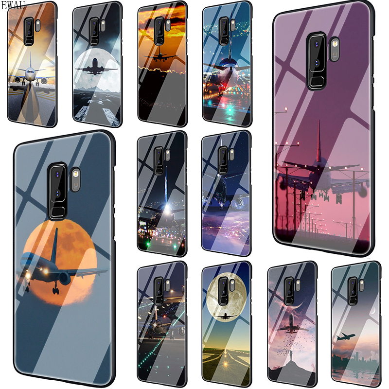 aircraft plane airplane aeroplane Tempered Glass Phone Case for Samsung S7 Edge S8 S9 S10 Note 8 9 10 plus A10 20 30 <font><b>40</b></font> <font><b>50</b></font> <font><b>60</b></font> 70 image