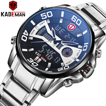 KADEMAN แฟชั่นนาฬิกาผู้ชายนาฬิกาควอตซ์ LCD Digital Mens นาฬิกาแบรนด์หรูกันน้ำกองทัพทหารนาฬิกาข้อมือเหล็กเต็มรูปแบบ