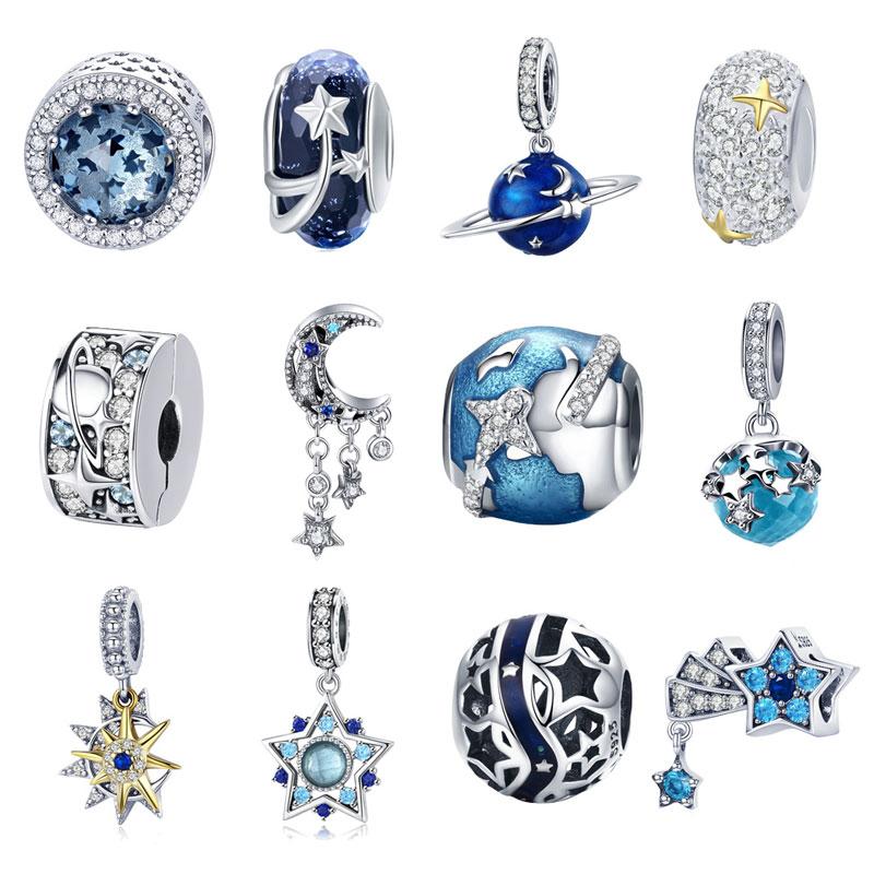 BISAER Echt 925 Sterling Silber Reise Welt Charms Planet Stern Mond Quaste Perlen Fit Charms Armbänder Silber 925 Schmuck ECC183