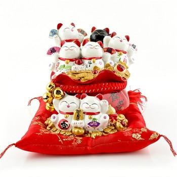 Ceramic Maneki Neko Opening Furnishing Lucky Cat Money Box Japanese Couple Fortune Cat Feng Shui Wedding Gift Centerpiece M4316