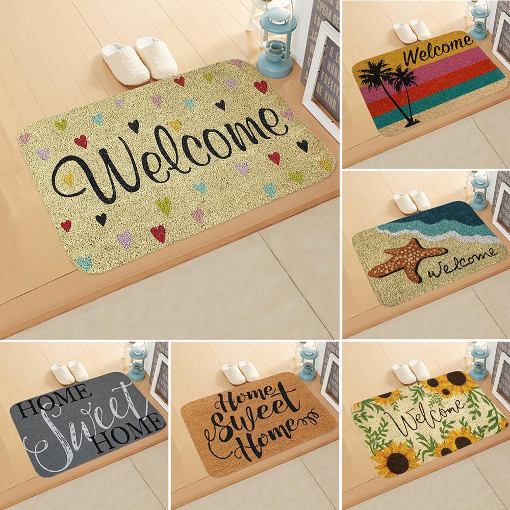 Welcome Letter Print Doormats Rectangle Non-slip Doormat Bedroom Kitchen Entrance Print Floor Mat Doormats