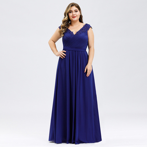 Image 4 - אלגנטי ערב שמלות בתוספת גודל אונליין V צוואר אפליקציות שרוולים Ruched שיפון פורמליות ערב מסיבת שמלות Robe לונג 2020