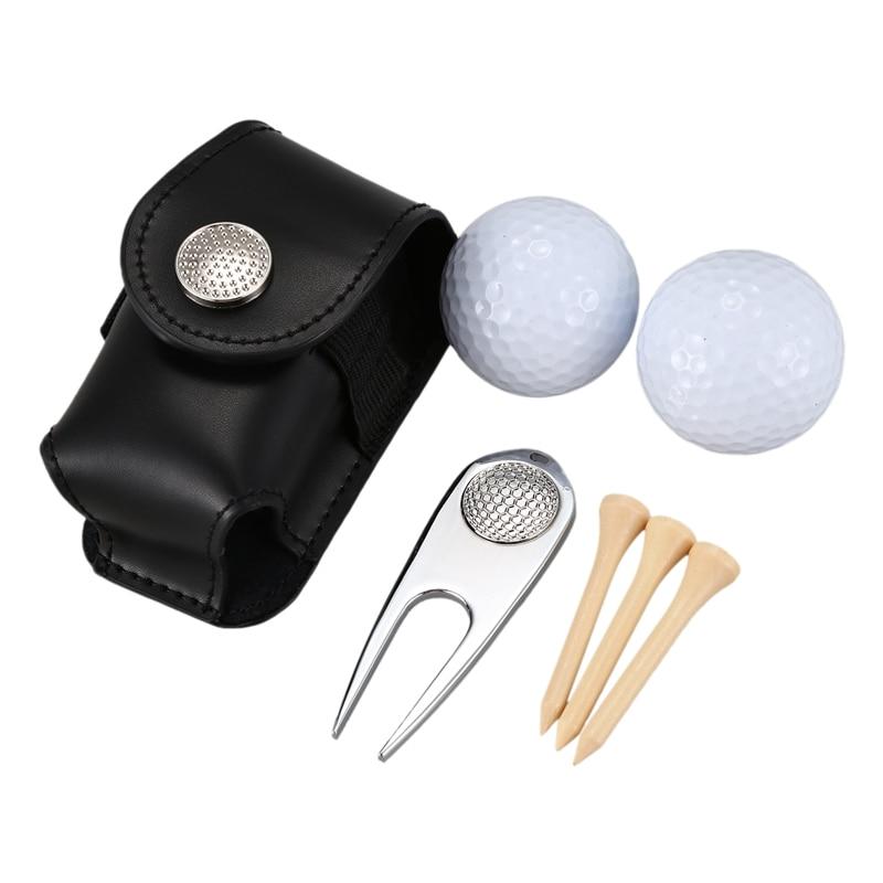 ELOS-7PCS/Set Golf Ball Bag Holder Clip Leather Waist Pack Utility Pouch Golf Training Aids With Ball Tees Divot Golf Sports Equ