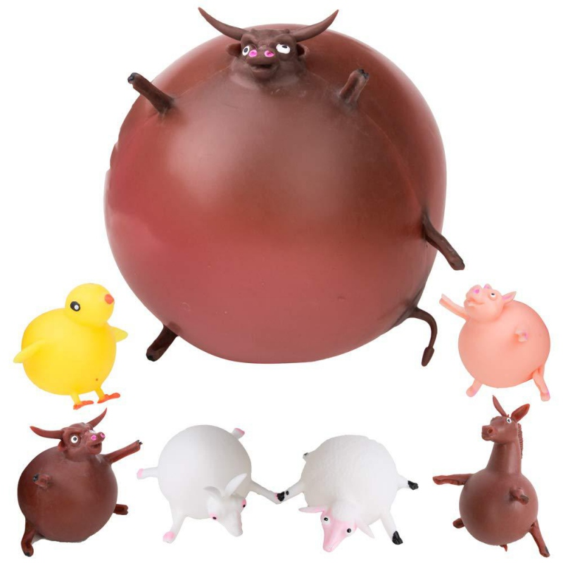 Baby Toys Funny TPR Blowing Animal Squeeze Anti-stress Soft Rubber Inflatable Games Ball Toys For Children Kids Fun