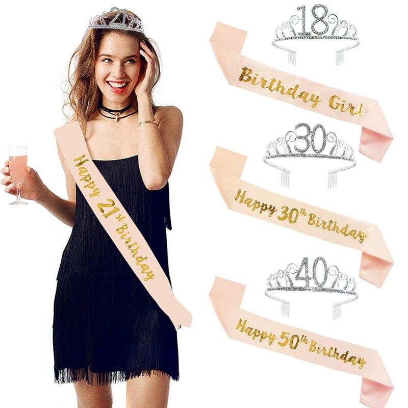 Festa de aniversário decoração 18 21 30 40 50 ouro rosa cetim faixa de cristal coroa tiara feliz aniversário festa suprimentos