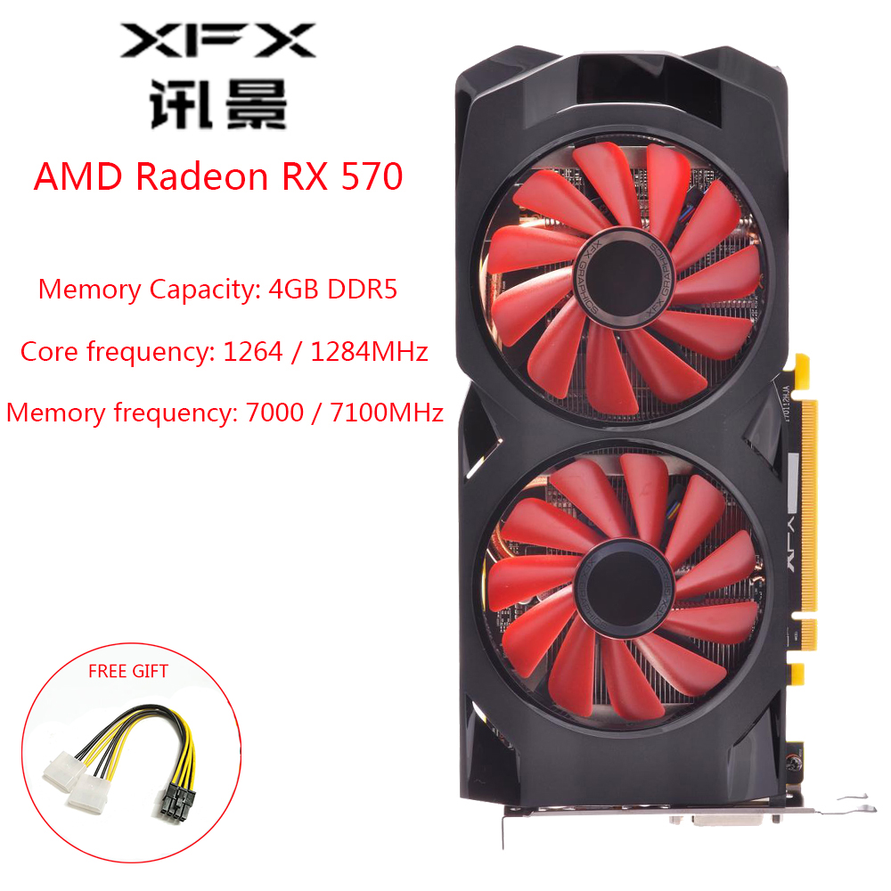 XFX AMD GPU Radeon RX 570 4GB DDR5 Graphics Card AMD RX570 4GB 256 Bit Gaming Computer Video Card 4K Gaming OW PUBG Used Card|Graphics Cards| |  - title=