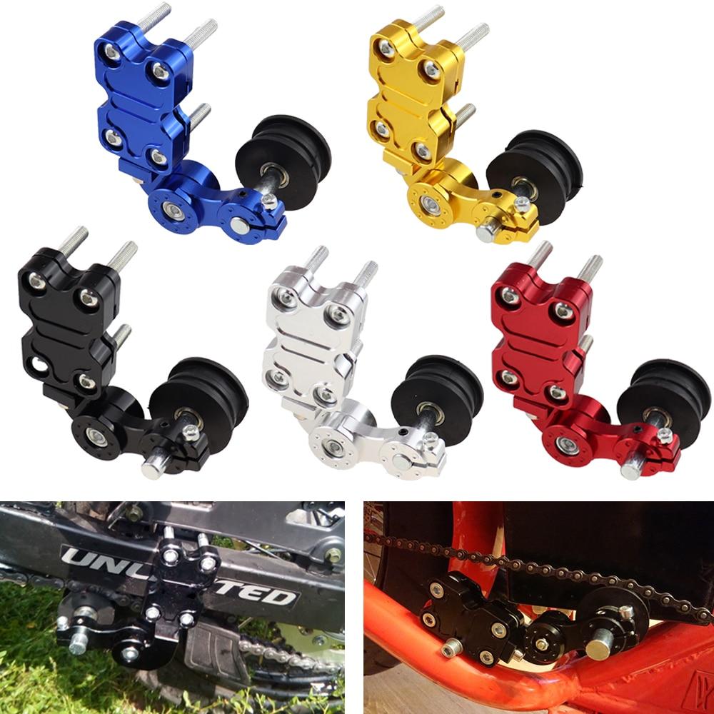 Universal alumínio preto/vermelho/prata/azul/liga de ouro nova marca ajustador tensor de corrente rolo para motocicleta/chopper atv