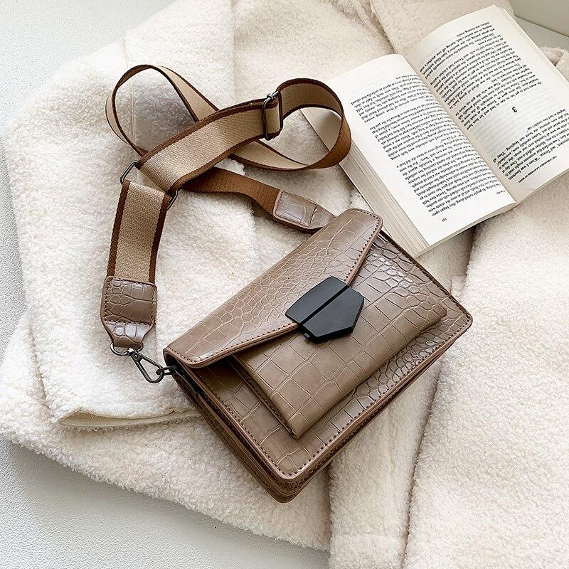 2019 new mini handbags women fashion ins ultra fire retro wide shoulder strap messenger bag purse simple style Crossbody Bags