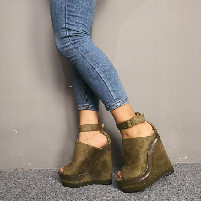 Army Platform Wedge Open Toe
