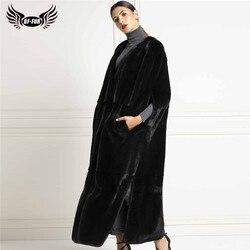 130cm Long Luxury Women Real Mink Fur Vest Fashion Overcoat Whole Skin Natural Mink Fur Jackets Sleeveless Female Winter Outwear