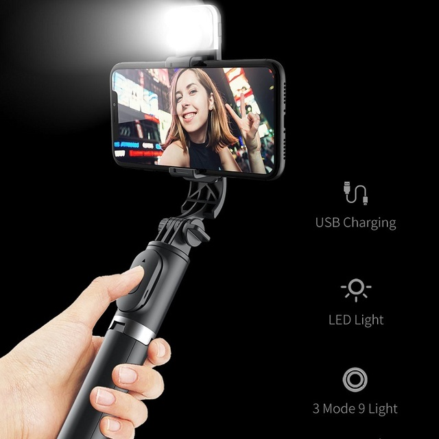 FANGTUOSI Wireless bluetooth selfie stick foldable mini tripod with fill light shutter remote control for IOS Android 2