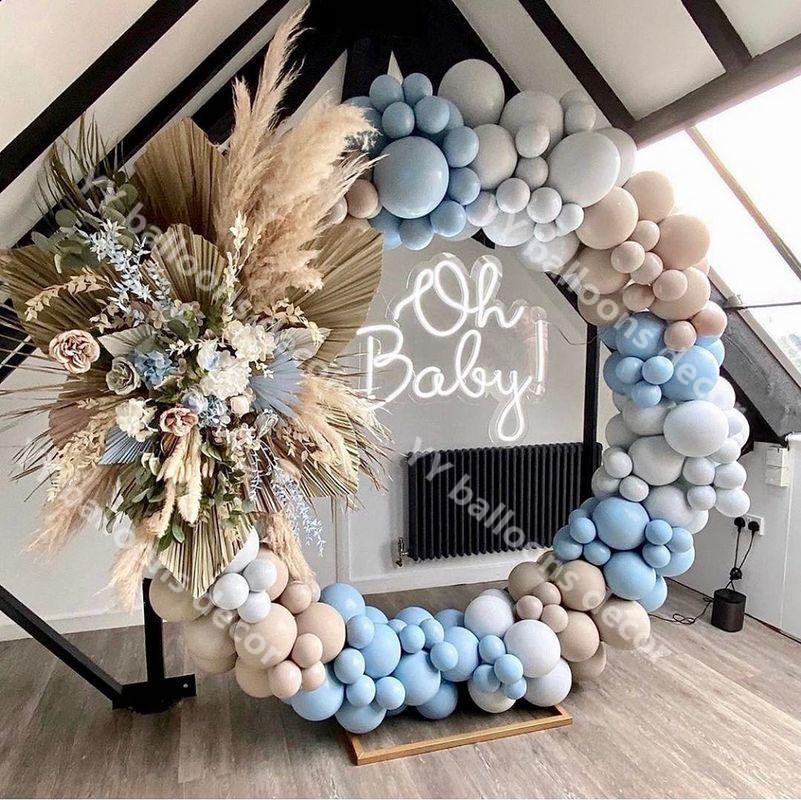140 pçs chuveiro do bebê macaron azul cinza retro pele balões garland arco kit globos festa de aniversário casamento decoração