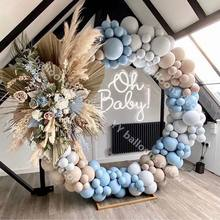 140pcs Baby Shower Macaron Blue Gray Retro Skin Balloons Garland Arch Kit Globos Birthday Party Wedding Anniversary Decoration