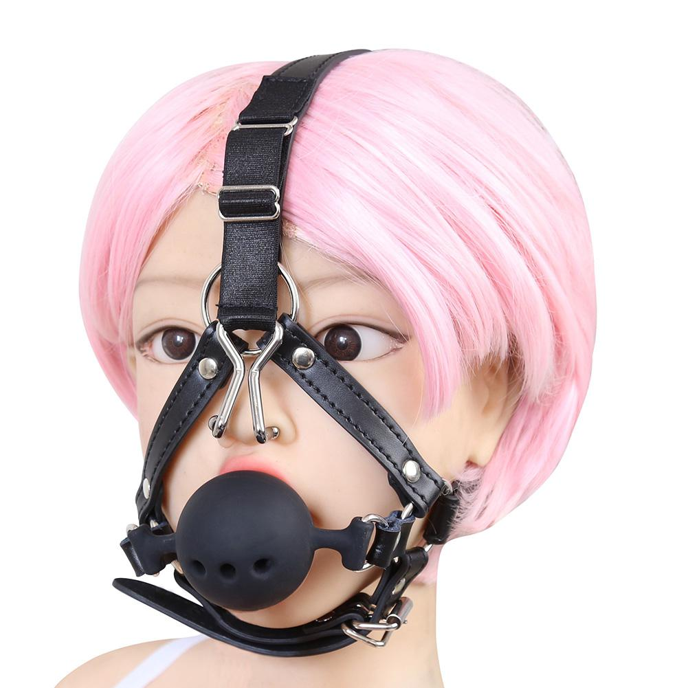 Movconly Leather Bondage Toys Open Mouth Gag with Silicone Ball Restraints Bite Adult Sex