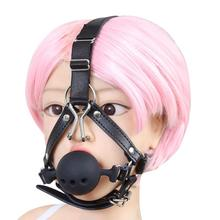 Movconly Leather Bondage Toys Open Mouth Gag with Silicone Ball Bondage Restraints Bite Gag Adult Sex Toys цены