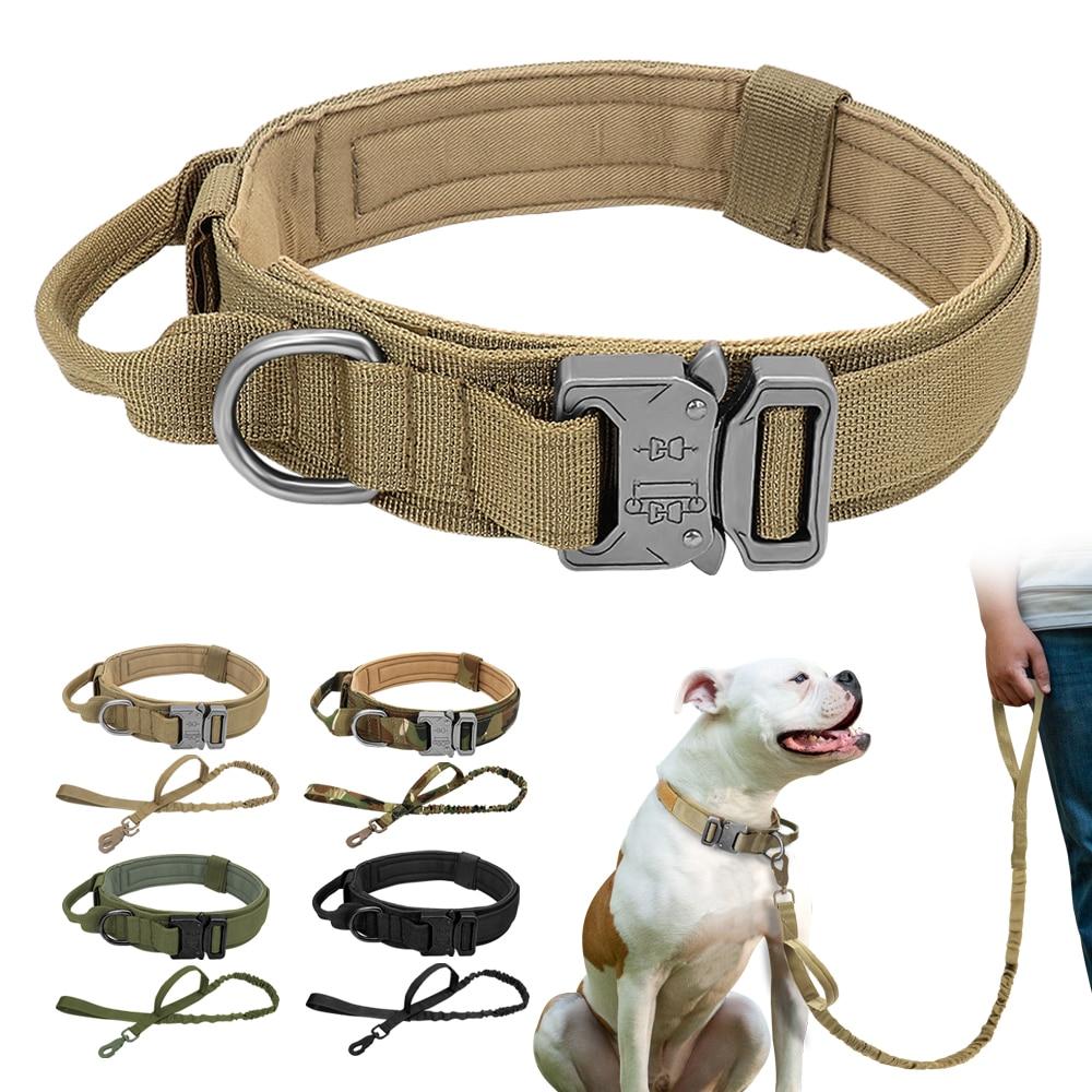 Durable Tactical Dog Collar Adjustable Nylon Military Dog Collar Leash For Medium Large Dogs German Shepherd Training Hunting