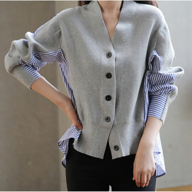 Korean Women's Sweater V-neck Single Breasted Loose Knit Cardigan Sweater Woman