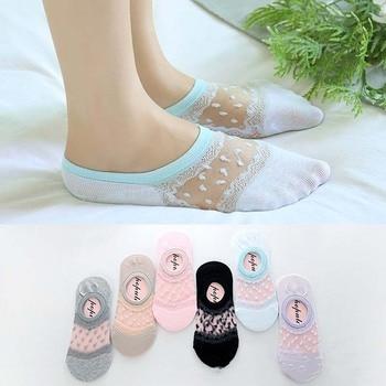 Fashion No Trace Invisible Women Cotton Short Socks Spring Summer New Asakuchi Lace Silica Gel Nonslip Sock Breathable Hosiery