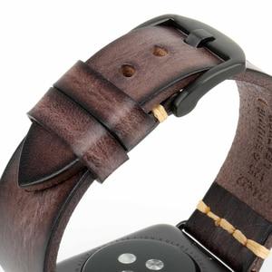 Image 3 - בעבודת יד איטלקי פרה עור רצועת שעון להקת עבור אפל שעון 44mm 40mm 42mm 38mm סדרת SE 6 5 4 3 2 iWatch Watchbands