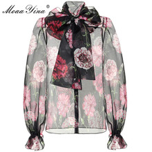 Moaayina高品質ファッションランタンスリーブシルクブラウス夏の女性は襟花プリントエレガントなシルクshir