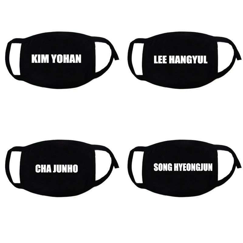 Imixlot Korean Groups KIM YOHAN Same Name Printed Black Mouth Mask Unisex Cotton Anti Pollution Face Shield Mouth Cover