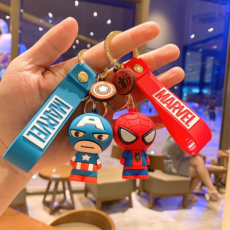 Disney Marvel Avengers Keychain Cartoon Iron Man Thor Hulk Captain America Car Key Chain Kids Bag Pendant Keyring Friends Gift