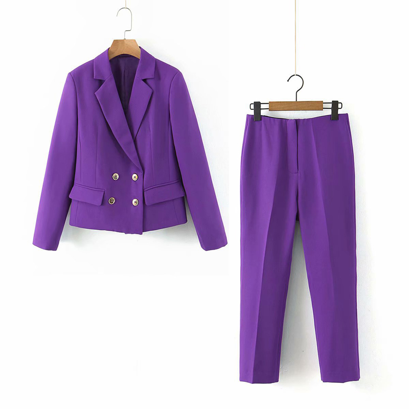 2020 Spring Autumn Fashion Two Pieces Set Women Slim Short Blazer Jacket Coat+Zipper Pants Suit Office Lady Female Trousers Sets