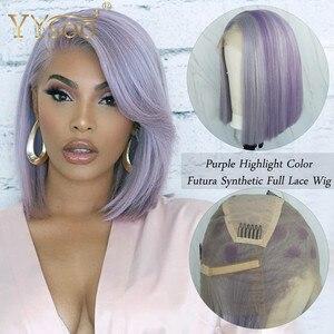 YYsoo púrpura de destacar sintético pelucas de encaje completo Japón Futura sedoso peluca recta con corte Bob atado a mano de uso diario peluca corta de