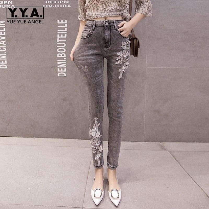 Fusées brodées florales européennes nouvelles femmes Denim pantalon taille haute Slim grande taille cheville longueur femme crayon Jeans pantalon
